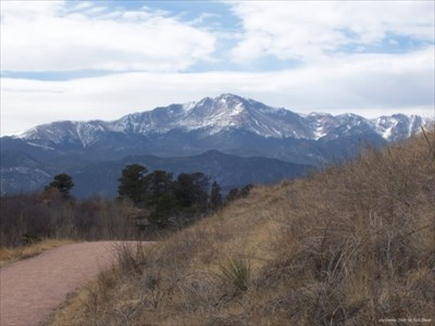 A view of Pikes Peak along the trail