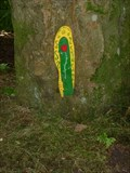 Image for Narrow Green Fairy Door with Yellow Frame - Portpatrick, Scotland, UK