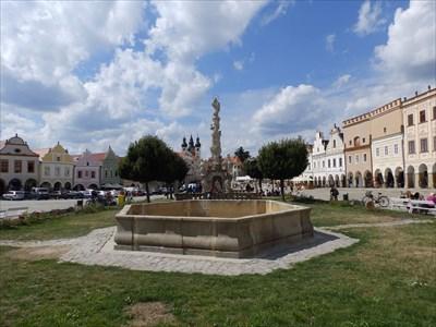 Kašna se sochou Siléna, Telc, Czech republic