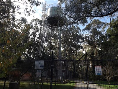 Terrys Avenue, Belgrave. Looking up at the tower. 5 May, 2016 With a few transmitters also visible.