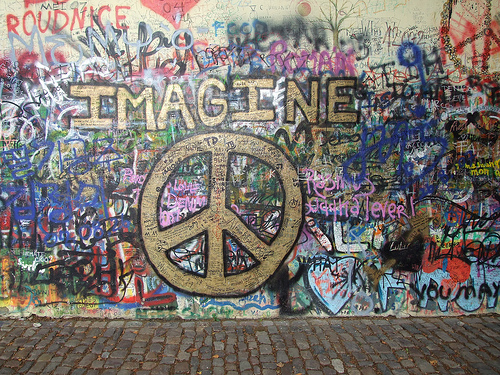 Imagine Peace At The John Lennon Wall In Prague There Is Also A Bust Set Into