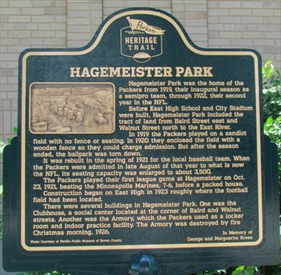 Packers heritage trail hagemeister park signs of for Hagemeister park