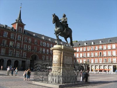 "Statue located in ""Plaza Mayor"" Madrid, Spain"