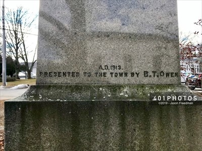 Detail: Carved near the bottom of the base's north side -  A.D. 1913. PRESENTED TO THE TOWN BY B.T.OWEN