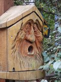 Image for Wood bird house with face - Story Garden, Binghamton, NY