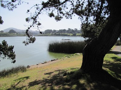 Lake Merced and Dragon Boat, Looking NE, San Francisco, CA