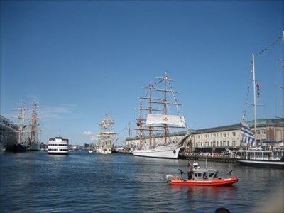 Commonwealth Pier is to the left.  Fish Pier is to the right.  The tall ships were visiting at the time the picture was taken.