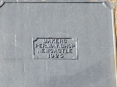Makers mark on the side of the steel Water Tower.