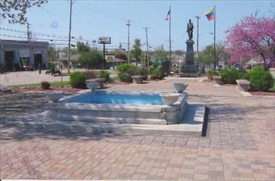 red granite marker is far left center of photograph