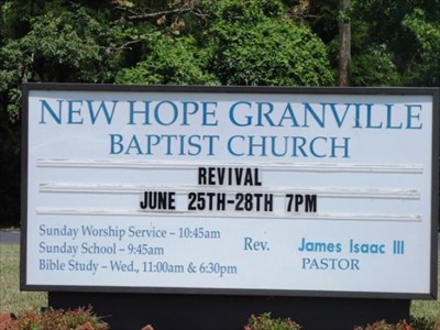 New hope granville baptist church berera nc image gallery for Granville home of hope
