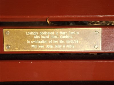 The bronze plaque on the brown wooden bench.