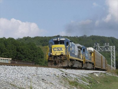The southbound CSX has the go ahead and is passing behind the Heritage Center