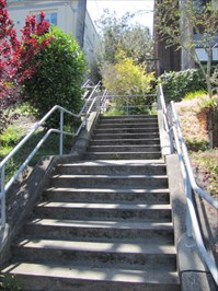 Aerial Way Stairs (East), Looking Up to Jog in Stairway, San Francisco, CA