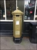 Image for Gold VR Pillar Post Box. Lincoln. UK