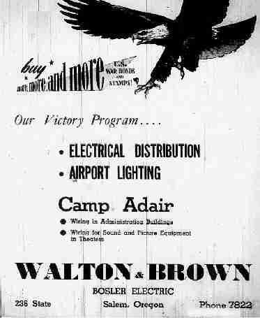 Locksmith Salem Oregon >> Walton & Brown Electric Company - Salem, Oregon - 1943 ...