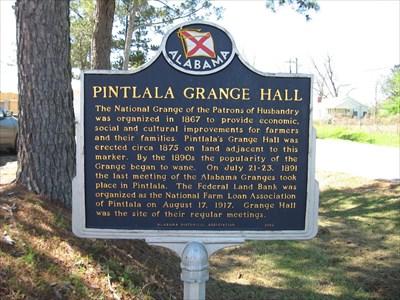 Grange Hall Historic Marker at the original site.