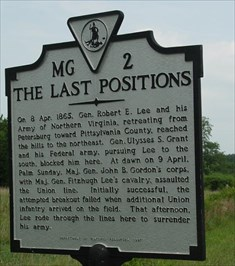 The last Positions of the War. Later General Lee Surrendered