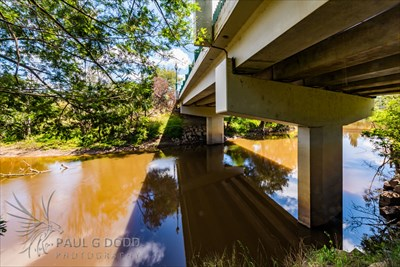 A view of the under-side of the bridge: courtesy of Paul G Dodd Photography; with cast reinforced concrete beams in evidence!