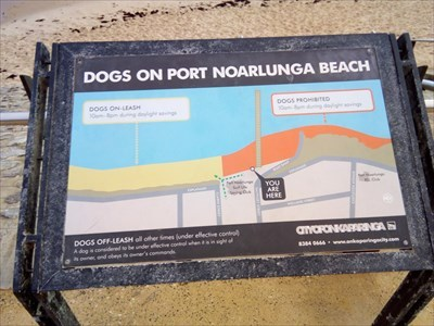 Just outside the Port Noarlunga Surf Life Saving Beach with the sign showing where dogs are allowed.1715, Sunday, 27 May, 2018