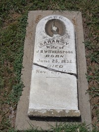 Sarah Witherspoon, referenced on the historical marker as the first marked burial here.