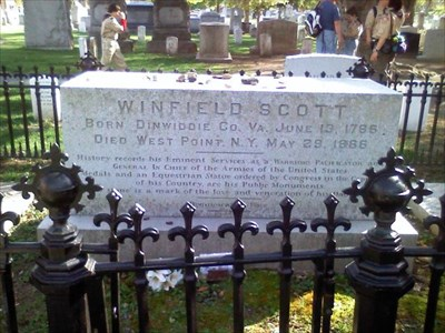 The grave of Gen. Winfield Scott, at the West Point Cemetery.  Gen. Scott was a prominent Union officer and important to the Union's victory at Gettysburg.