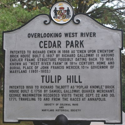 CEDAR PARK and TULIP HILL Maryland Historical Marker