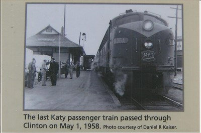 The last Katy passenger train passed through Clinton on May 1, 1958
