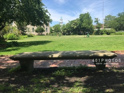 View from the Elizabeth Gregory, MD dedicated bench looking west across the Robbins Memorial Gardens