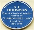 Image for A E Housman - Northumberland Place, London, UK