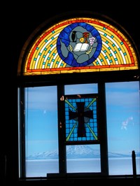 A view from inside the Chapel of the Snows looking towards Mt Erebus.