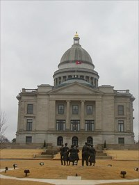 """Looking across the """"Little Rock Nine"""" to the Capitol Building."""
