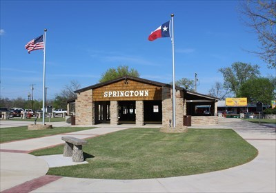 """At right.  """"City of Springtown"""" is at left."""