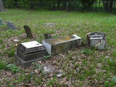 Remains of grave marker for John W.P. McKenzie.  Thanks, vandals.