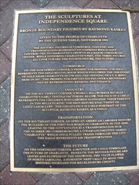 The plaque in the sidewalk describing the symbolism of each of the four figurative statues at Independence Square in Charlotte, NC.