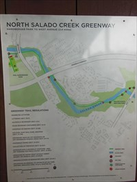 This is the You Are Here indicator on sign #3 showing North Salado Creek Greenway trails going from Phil Hardberger Park to West Avenue and joining with the Walker Ranch Heritage Park, a 2.4 mile extension of the trails along Salado Creek.