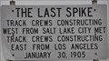 Image for Last Spike on the San Pedro, Los Angeles and Salt Lake Railroad
