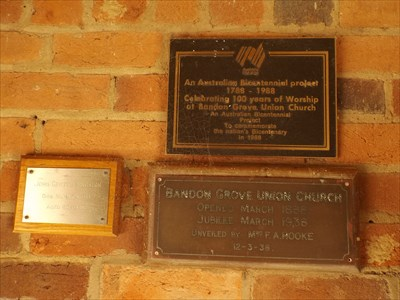 The plaques inside the alcove to the Church