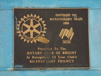 The plaque given for the building of the Soundshell by Bright Rotary Club, in Centenary Park in 1988 - the Bicentennial Celebration. 1518, Tuesday, 17 May, 2016