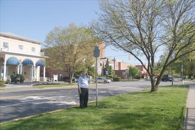 geotrooperz-pp at the G Washington historical marker at Union Avenue and Revolution. Harford Memorial Hospital is in the background.