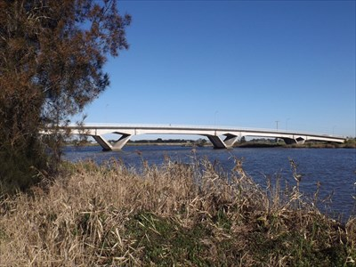 The Fitzgerald Arched Bridge, looking to the Hunter River junction, showing the reinforced concrete beams and broad