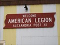 "Image for ""American Legion Post 41"" Alexandria, South Dakota"