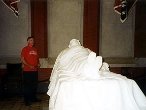The statue is on the first floor. Crypt with bodies is in the basement.