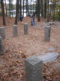 Walden Pond was is ahead through the trees.  The cairn pile is to the right.