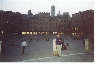 Piazza at dusk.
