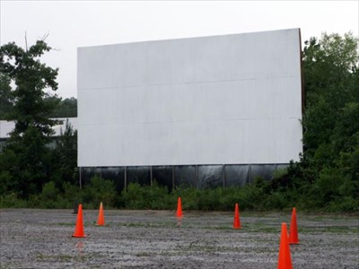 The movie screen from the parking (viewing) lot.