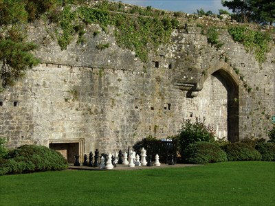 Lord Abercrombie visited Giant Chess, Caldicot Castle, Caldicot, Monmouthshire, S.Wales.