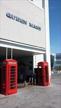 Image for 2 Red Telephone Boxes at Exit of Queen Mary - Long Beach, CA