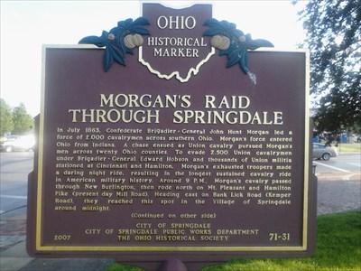 Springdale Ohio Map.Morgan S Raid Through Springdale 71 31 Ohio Historical Markers