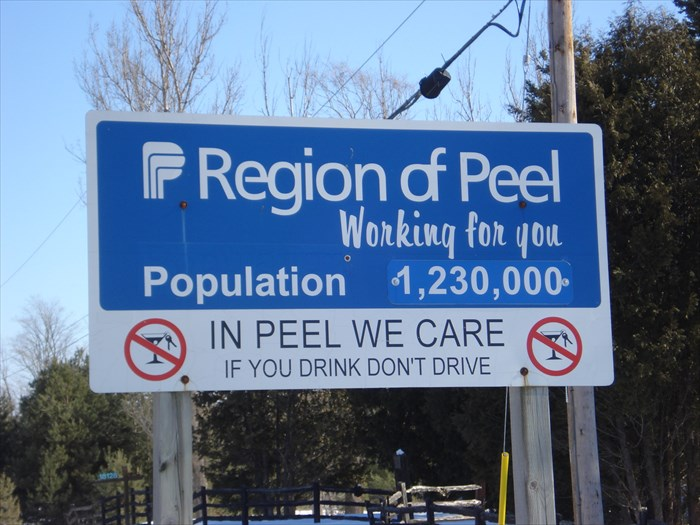 Region Of Peel Ontario Canada Population Signs On Waymarking Com