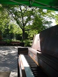 Photo du piano du petit chapiteau et les bancs du parc.  Piano photo of the little tent and park benches